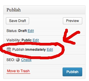 This is where you click to schedule a publication time and date in Wordpess.